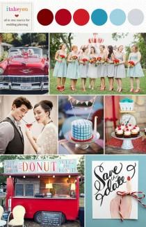 wedding photo - Blue Red Wedding Colors, Retro Wedding Ideas