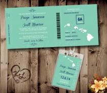 wedding photo - PRINTABLE Boarding Pass Wedding Set Digital PDF destination Save the Date luggage tag bridal invite invitation Hawaii Hawaiian modern