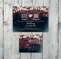 wedding photo - Digital - Printable Files - Romantic Garden and Night Light Wedding Invitation and Reply Card Set - Wedding Stationery - ID210BR
