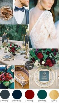 wedding photo - Navy Blue And Maroon For A Romantic Autumn Wedding