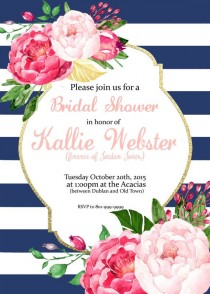 wedding photo - Pink Floral Stripes Invitation - Bridal Shower, Baby Shower, Brunch, Birthday (can Be Changed To Anything) Party Invite - Digital Download