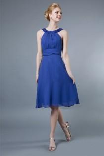 wedding photo - Chiffon Jeweled Collar Knee Length Dress - Crazy Sale Bridal Dresses