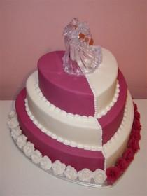 wedding photo - Wedding Cake – Black And White Double Heart By Natalya