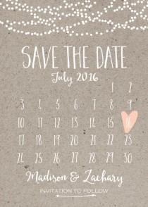 wedding photo - Save The Date Card, Calendar Printable, Simple Wedding Announcement, Kraft Paper, Rustic, Custom Colors, White Neutral Classy