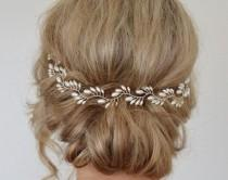 wedding photo - Bridal Headpiece, Bridal Halo For Updo, Hair Vine, Freshwater Pearl Wreath, Bridal Hair Accessories, Demi Halo, Back Of Head, Wedding Comb