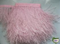 wedding photo - 10 yards/lot Light Pink ostrich feather trimming fringe on Satin Header 5-6inch in width for Wedding Derss