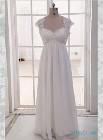 wedding photo - Simple empire plus size chiffon wedding dress with sleeves