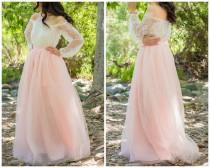 wedding photo - Blush Pink Skirt - Full Length, Floor length Tulle Skirt, Extra Full Skirt- Bridesmaid dress, Engagement Dress