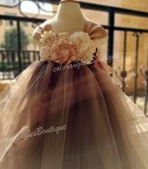 wedding photo - Flower girl dress chiffton flowers Brown champagne tutu dress baby dress toddler birthday dress wedding dress 1-8T