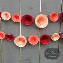 wedding photo - Paper Flower Garland - Red - Coral - Peach - Paper Flowers - Flower Garlands - Backdrop - Table Decor - Wedding Birthday - Candy Table