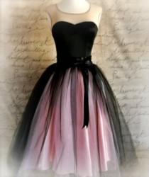 wedding photo - Black And Pink Tutu Skirt For Women. Ballet Glamour. Retro Look Tulle Skirt