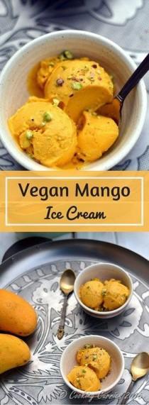 wedding photo - Vegan Mango Ice Cream With Pistachios