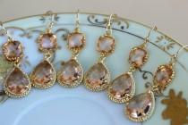 wedding photo - READY TO SHIP - 15% Off Set of 6 Wedding Jewelry Bridesmaid Earrings Bridal Bridesmaid Jewelry Champagne Blush Earrings Peach Gold Teardrop