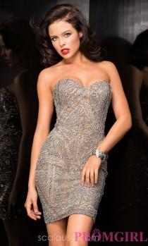 wedding photo - Silver Strapless Sweetheart Dress by Scala - Brand Prom Dresses