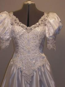 wedding photo - White Satin Full gown, beaded embroidered organza lace, Romantic pouf sleeves , Full attached train