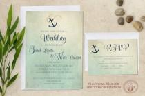 wedding photo - Nautical Wedding Invitation, Beach Wedding Invitation, Destination Wedding Printable Wedding Invitation
