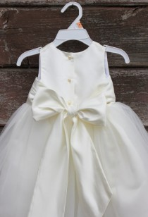 wedding photo - Ivory Flower Girl dress bow sash pageant petals wedding bridal children bridesmaid toddler elegant