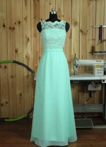 wedding photo - Mint Lace Bridesmaid dress, Lace Wedding dress, Formal dress, Backless Evening dress, Prom dress Floor length
