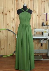 wedding photo - 2016 Green Bridesmaid dress, Detachable Straps Wedding Dress, Chiffon Formal dress, Backless Detachable Straps Cocktail dress Floor length