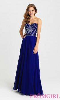 wedding photo - Long Madison James Strapless Sweetheart Prom Dress - Discount Evening Dresses