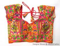 wedding photo - Colorful embroidery saree blouse, embellished Sari blouse, embroidered blouse designs for bridal sarees, traditional blouse