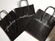 wedding photo - Handlettered Gift bags, Favor Bags, Bridesmaid gift bags, Groomsmen gift bags