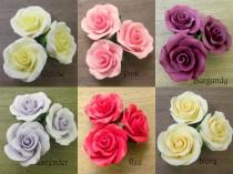 "wedding photo - 5 1-1/2"" Gumpaste Roses - Red Pink Burgundy Yellow Ivory or Lavender. Fondant Edible Wedding Cake Toppers :)"