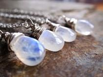 wedding photo - Sterling silver rainbow moonstone necklace, perhaps bridal jewellery or bridesmaid gift necklace, from UK