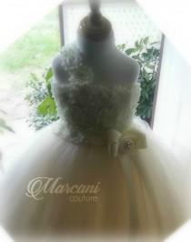 wedding photo - Ivory Pearl Flower Girl Dress, Flower Girl Dress,Tutu Flower Girl Dress,Vintage Tutu Dress,Vintage Flower Girl Dress,Tulle,Tutu Dress