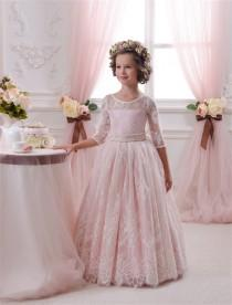 wedding photo - Blush Pink Lace Tulle Flower Girl Dress - Wedding party Holiday Bridesmaid Birthday Blush Pink Flower Girl Tulle Lace Dress