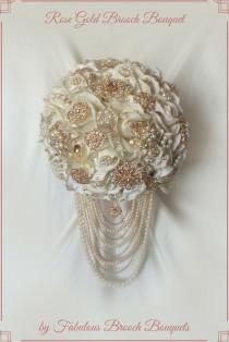 wedding photo - Rose Gold Brooch Bouquet, Brooch Bouquet, Rose Gold Cascading Brooch Bouquet, Deposit, Full Price 495.00