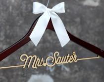 wedding photo - Personalized Rustic Wedding Dress Hanger, New-tech Bride Bridesmaid Wood Name Hanger, Custom Wedding Bridal Hanger,Bridal Shower Gift CML001
