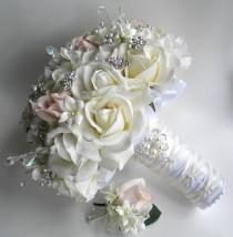 wedding photo - The Michelle Bouquet- Rhinestone and Pearl Real Touch Rose Bouquet in  White, Ivory &  Blush  Brooch Bouquet.
