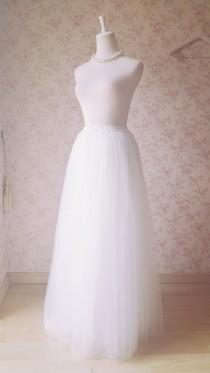 wedding photo - 2016 White Bridal Skirt Custom Plus Size Lace Tutu Wedding Skirt Floor Length Maxi Bridal Separate Bridal Skirt. Lace Skirt Romantic Summer