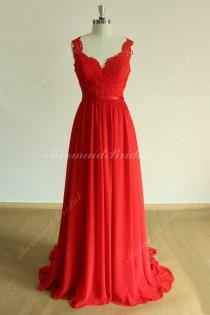 wedding photo - Open back Red Flowy a line chiffon lace wedding dress, prom dress with deep V neckline
