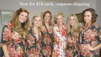 wedding photo - Set of 6,Bridesmaids robes,Cotton Floral kimono robe,Getting ready robes,Bridesmaids gifts,Wedding Gift,Bridal shower gift,Maid of Honor,Spa