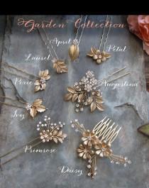 wedding photo - Gold Leaf Laurel Hair comb, Boho Bridal hair comb, Vintage Bridal haircomb, Bohemian Wedding Gold Hair accessory - 'GARDEN COLLECTION'