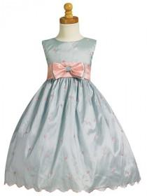 wedding photo - Light Blue/Pink Flower Girl Dress - Embroidered Polka-Dot Dress Style: LM559 - Charming Wedding Party Dresses