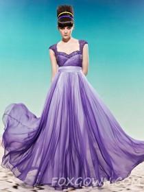 wedding photo - Lange Prom Kleid mit Sicke Cap Sleeve - Festliche Kleider