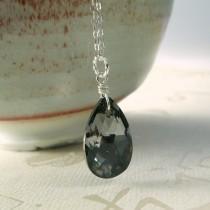 wedding photo - Black Crystal Necklace, Sterling Silver, Hematite Pendant, Teardrop Charcoal Swarovski, Bridesmaid Wedding Handmade Jewelry