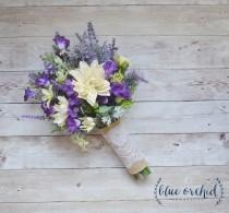 wedding photo - Wildflower Bouquet - Lavender and Purple Wildflower Bouquet with Ivory Dahlias, Silk Wildflower Bouquet, Boho Bouquet, Purple Bouquet