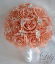 """wedding photo - Bridal Bouquets Wedding 17 Piece Package Silk Flowers Bride Artificial Bouquets Set Centerpieces PEACH WHITE PEARLS """"Lily of Angeles"""" PEPE01"""