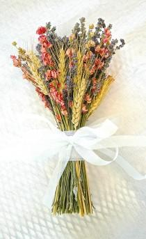 wedding photo - Golden Summer Fall Wedding  Brides Bouquet of Lavender Coral Peach Larkspur and Wheat