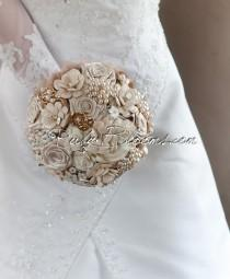 "wedding photo - Rustic Chic Wedding Brooch Bouquet. Deposit - ""Rustic Chic"" Beige Pearl, Rustic Chic Wedding Bouquet. Heirloom Country Bridal Broach Bouquet"