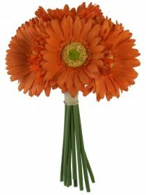wedding photo - Tangerine Orange Daisy Bouquet - Bridal Wedding Bouquet