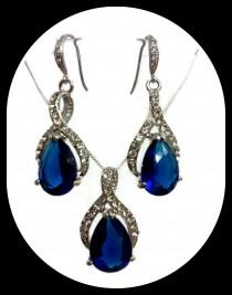 wedding photo - Something Blue Wedding Jewelry, Sapphire Blue Bridal Earrings, Drop Bridal Necklace, Pear Cz Bridal Jewelry Set, Gift for Her, TWIRL
