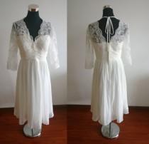 wedding photo - Lace bridesmaid dress lace wedding dress ivory dress chiffon dress prom dress evening dress ivory bridesmaid dress short wedding dress
