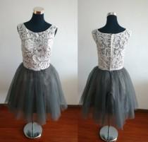 wedding photo - Lace homecoming dresses, grey short a-line homecoming dresses, tulle custom homecoming dresses, party dresses lace, illusion dress
