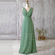 wedding photo - 2016 Dark Green Bridesmaid Dress Long, V Neck Wedding Dress, Chiffon Maxi Dress, Open Back Prom Dress, Evening Gown Floor Length (H096)