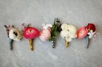wedding photo - Vintage Modern Wedding Boutonnieres Anemones Ranunculus